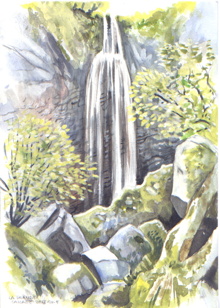 Aquarelle - La grande Cascade - massif du Sancy