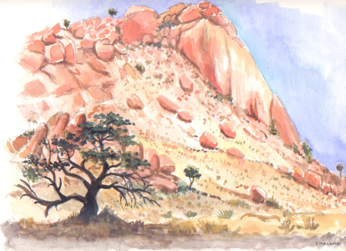 Aquarelle - Namibie - butte de granite